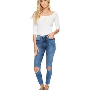 Free People Sz 29 Busted Knee NWT High Slim Jeans